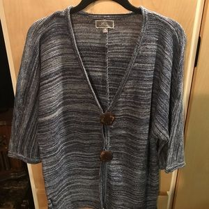 Woman's Blue Silver Sweater Button Down 3/4 Sleeve